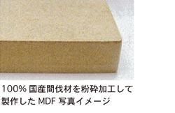 100%国産間伐材を粉砕加工して製作したMDF写真イメージ