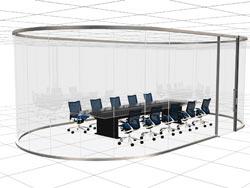 曲面ガラスを用いた会議室(イメージ)
