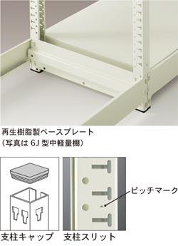 再生樹脂製ベースプレート・支柱キャップ・支柱スリット
