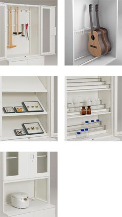 専用教材・器具の内容や収納量に合わせて収納ユニットを選択可能